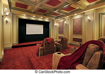 Theater with plush red carpeting - Theater in luxury home ...