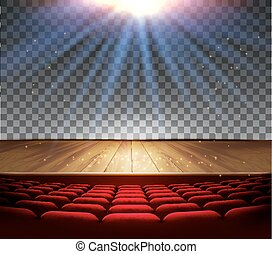 Theater wooden stage with a spotlight on a transparent background. Vector.