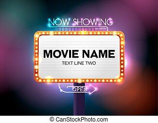 theater, zeichen, und, neonröhren