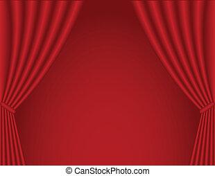 Gordijn, theater. Theater, illustration., symbool, -,... vector ...