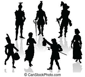 theatr, acteurs, silhouettes
