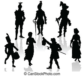 theatr, acteurs, silhouettes