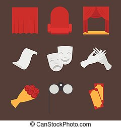Theatre acting performance icons set with  ticket masks flat isolated vector illustration