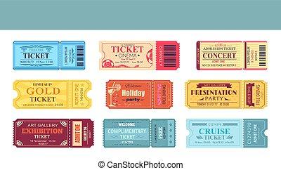 Theatre and Cinema Tickets Set Vector Illustration