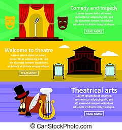 Theatre art banner horizonatal set, flat style