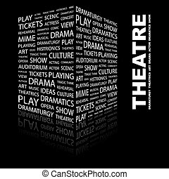 THEATRE. Background concept wordcloud illustration. Print...
