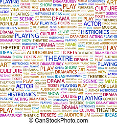 THEATRE. Concept illustration. Graphic tag collection. ...