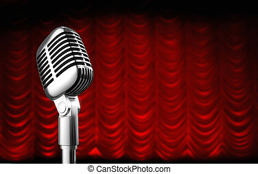 theatre curtain - 50s mic over red swag theater curtain ...