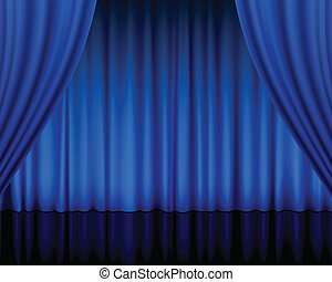 theatre curtain blue
