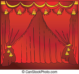 Theatre curtain - Fashioned theater stage with velvet...
