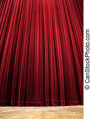 theatre curtain - red clean closed velvet curtain, wooden...