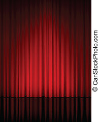 theatre curtain vertical - Close view of a red curtain....