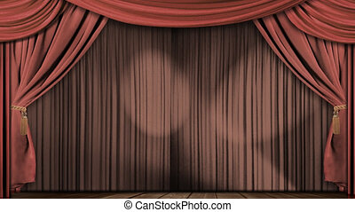 High definition clip of an opening red stage curtain. Animated mask for easy composition added