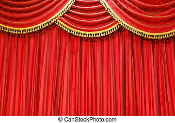 Theatre curtains - Background of red velvet closed theatre...