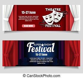 Theatre festival vector paper cut banner templates
