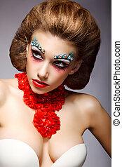theatre., fijn, vrouw, met, fantastisch, stagy, kleurrijke, makeup., fantasie