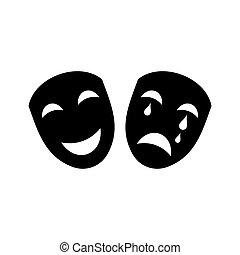 Theatre icon - Black vector theatre icon isolated on white...