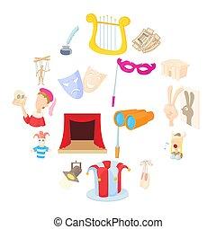 Theatre Icons set, cartoon style