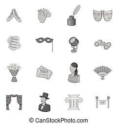 Theatre icons set, gray monochrome style