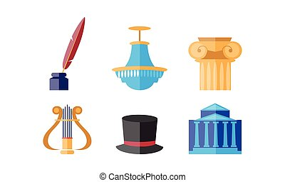 Theatre icons set, theatrical premiere or rehearsal elements vector Illustration on a white background
