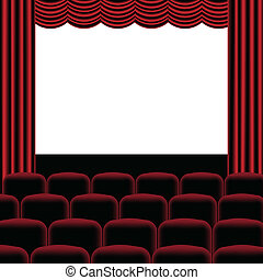 Illustration of theatre with red curtain, seats and blank screen