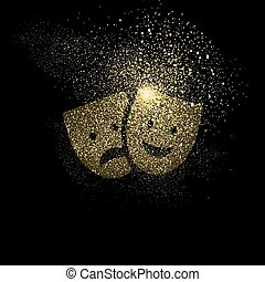 Theatre mask gold glitter art symbol illustration