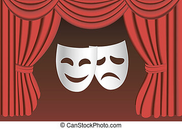 Theatre masks and curtain