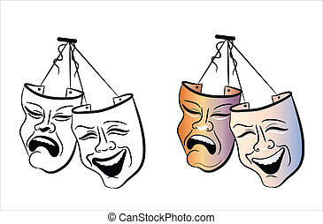 Theatre masks - Vector illustration of comedy and tragedy...
