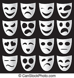 Isolated classical white theatre masks on a black background expressing different emotions