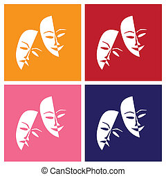 Theatre masks lucky sad in pop-art style - illustration