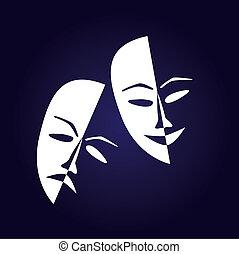 Theatre masks lucky sad on a dark background- illustration