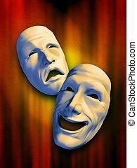 Sad and happy masks on a warm background. Digital illustration.