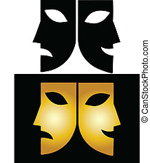 Vector illustration of theatre masks on white and black backgrounds
