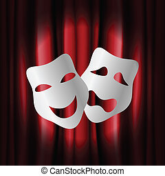 Theatre masks with red curtain