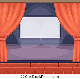 Theatre or cinema stage with red curtains. Vector background in cartoon style