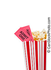 Theatre popcorn container with movie ticket - Theatre...
