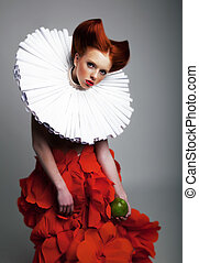 Theatre - pretty redhaired girl in jabot posing