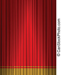 theatre red gold curtain