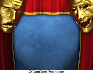 Theatre show - Sad and happy masks over opening curtains. ...