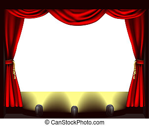 Theatre stage - A theatre stage, lights and curtain...