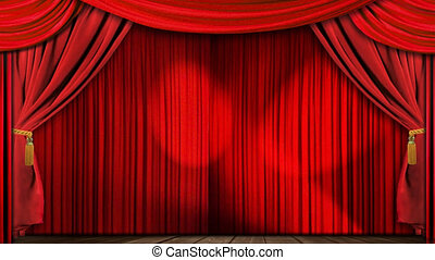 Theatre stage curtain - High definition clip of an opening...