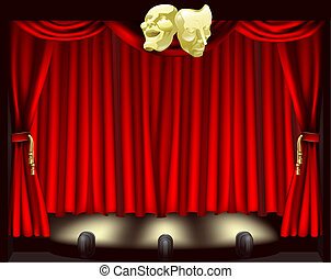Theatre stage with curtains, footlights, and comedy and tragedy masks