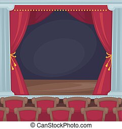 Theatre stage with red velvet curtains and spectator room