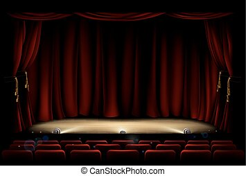 Theatre Stage with Theater Curtains