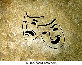 theatre - theatre masks on a grunge background...