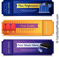 Theatre Ticket Banners Set