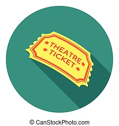 Theatre ticket icon in flat style isolated on white background. Theater symbol stock vector illustration