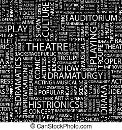 THEATRE. Seamless pattern. Word cloud illustration.