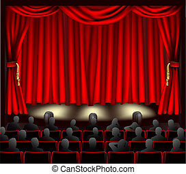Illustration of theatre with curtains and audience.