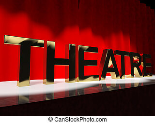Theatre Word On Stage Representing Broadway The West End Or Acting